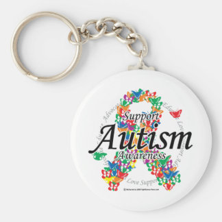 Autism Ribbon of Butterflies Basic Round Button Keychain