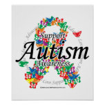 Autism Ribbon of Butterflies Poster