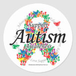 Autism Ribbon of Butterflies Stickers
