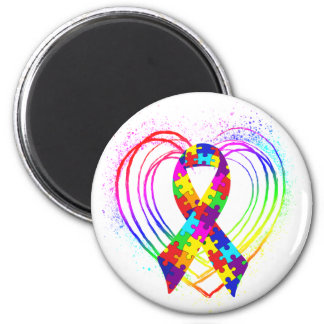 Autism Ribbon on Heart: 2 Inch Round Magnet