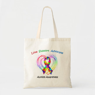 Autism Ribbon on Heart Bags