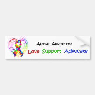 Autism Ribbon on Heart Bumper Stickers