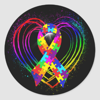 Autism Ribbon on Heart: Classic Round Sticker