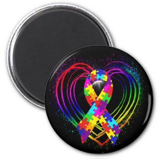 Autism Ribbon on Heart: Magnet