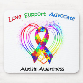 Autism Ribbon on Heart Mouse Pad