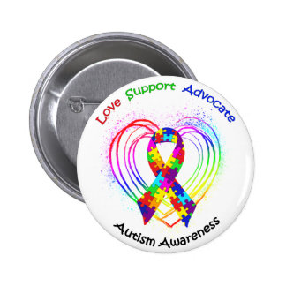 Autism Ribbon on Heart: Pinback Button