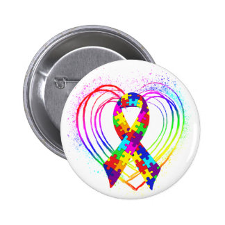 Autism Ribbon on Heart: Pinback Button