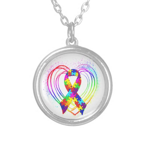Autism Ribbon on Heart Round Pendant Necklace
