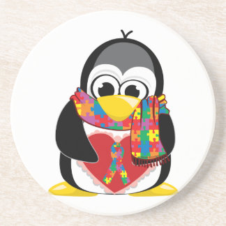 Autism Ribbon Penguin Scarf Coaster