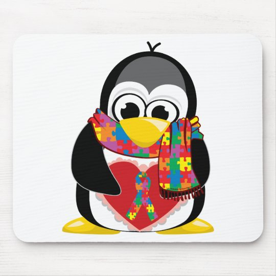 Autism Ribbon Penguin Scarf Mouse Pad