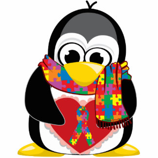 Autism Ribbon Penguin Scarf Standing Photo Sculpture