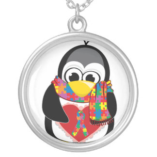 Autism Ribbon Penguin Scarf Silver Plated Necklace