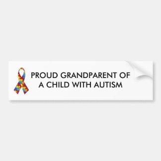 autism_ribbon, PROUD GRANDPARENT OF A CHILD WIT... Car Bumper Sticker