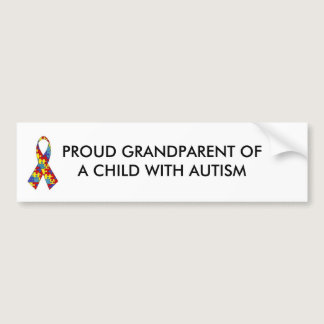 autism_ribbon, PROUD GRANDPARENT OF A CHILD WIT... Bumper Sticker