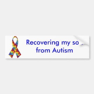 autism_ribbon, Recovering my son from Autism Bumper Sticker