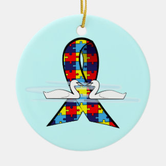 Autism Ribbon with Swans Ceramic Ornament