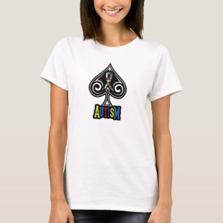 Autism Ribbon - Womens Tshirt - Spades Edition