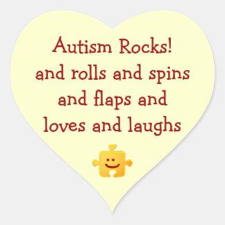 Autism Rocks Heart Sticker
