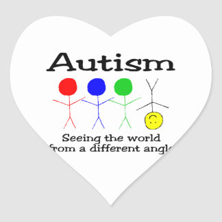 Autism Seeing The World From A Different Angle Heart Sticker