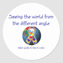 Autism Seeing the world from the different angle Classic Round Sticker