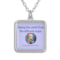 Autism Seeing the world from the different angle Silver Plated Necklace