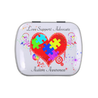 Autism Shining Heart Jelly Belly Candy Tin