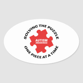 Autism : Solving The Puzzle One Piece At A Time Oval Sticker