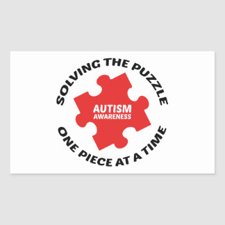 Autism : Solving The Puzzle One Piece At A Time Rectangular Sticker