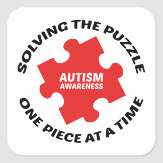 Autism : Solving The Puzzle One Piece At A Time Square Sticker