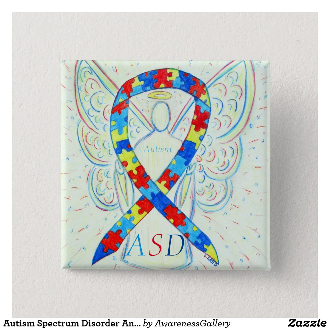 Autism Spectrum Disorder Angel Puzzle Ribbon Pin