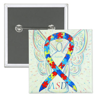 Autism Spectrum Disorder Angel Puzzle Ribbon Pin