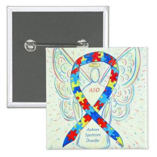 Autism Spectrum Disorder Angel Puzzle Ribbon Pins