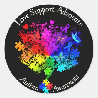 Autism Spectrum Tree Classic Round Sticker