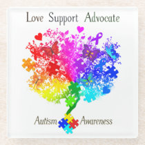 Autism Spectrum Tree Glass Coaster