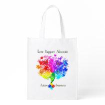 Autism Spectrum Tree Grocery Bag
