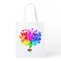 Autism Spectrum Tree Grocery Bag