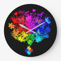 Autism Spectrum Tree Large Clock