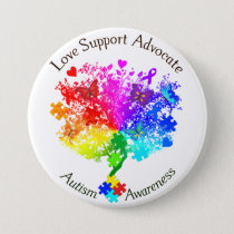 Autism Spectrum Tree Pinback Button