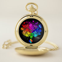 Autism Spectrum Tree Pocket Watch