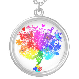 Autism Spectrum Tree Silver Plated Necklace
