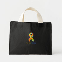 Autism Strong Ribbon Puzzle Piece Support Mini Tote Bag