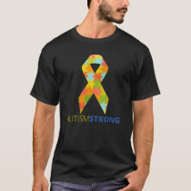 Autism Strong Ribbon Puzzle Piece Support T-Shirt