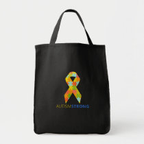 Autism Strong Ribbon Puzzle Piece Support Tote Bag