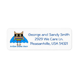 Autism Super Hero Autism Colors Owl Zig Zags Label
