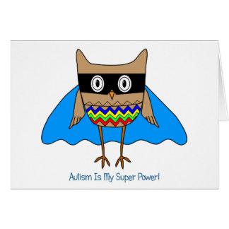 Autism Super Hero Owl, Autism Awareness Colors Card