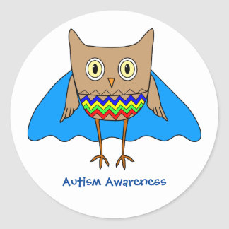 Autism Super Hero Owl Autism Awareness Colors Classic Round Sticker