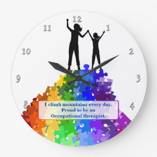 Autism Support Climbing New Heights Large Clock