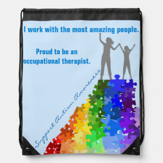 Autism Support Climbing New Heights Woman & Girl Drawstring Bag