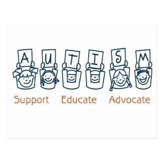 Autism: Support Educate Advocate Postcard