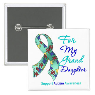 Autism Support For My Granddaughter Pinback Button